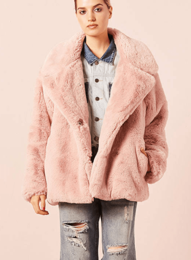 Faux Fur Textured Coat in Rosy Pink