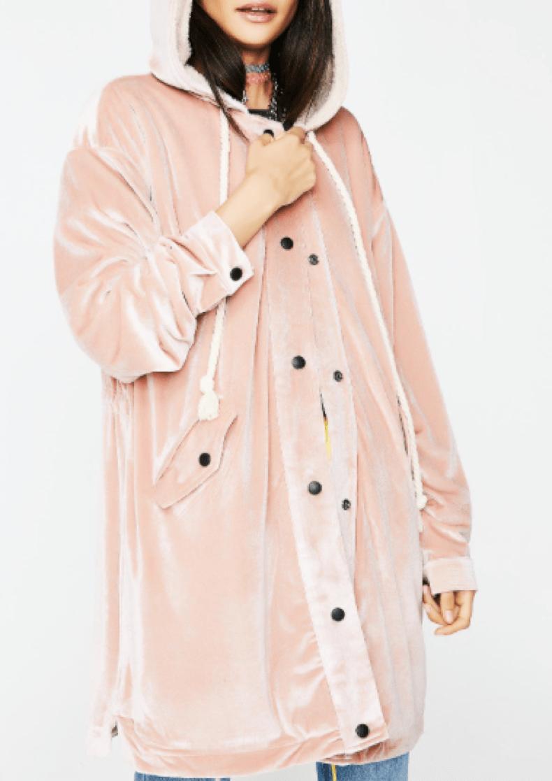 Mid Length Pink Velvet Coat