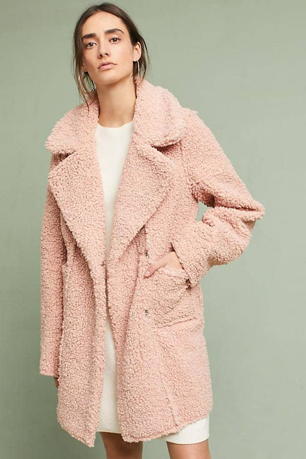 soft pink sherpa coat from Anthropologie