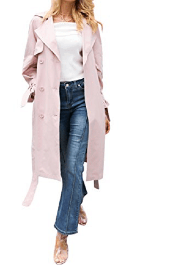Double Breasted Pink Trench Coat with Belt
