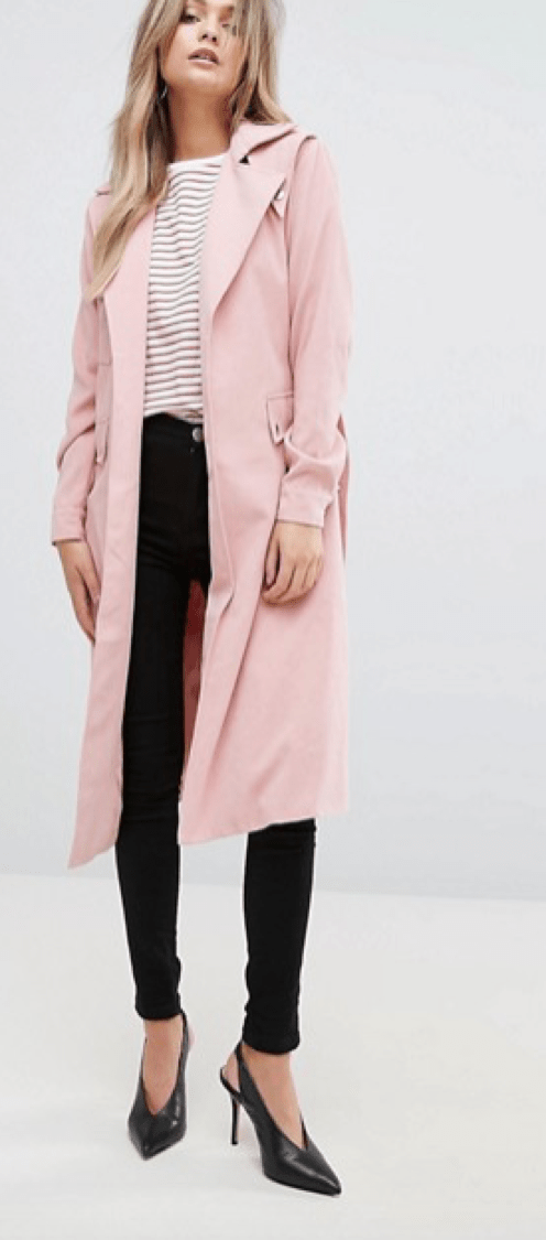 Belted Mac in Pink