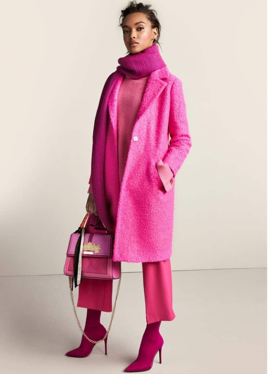 Hot pink textured trench coat