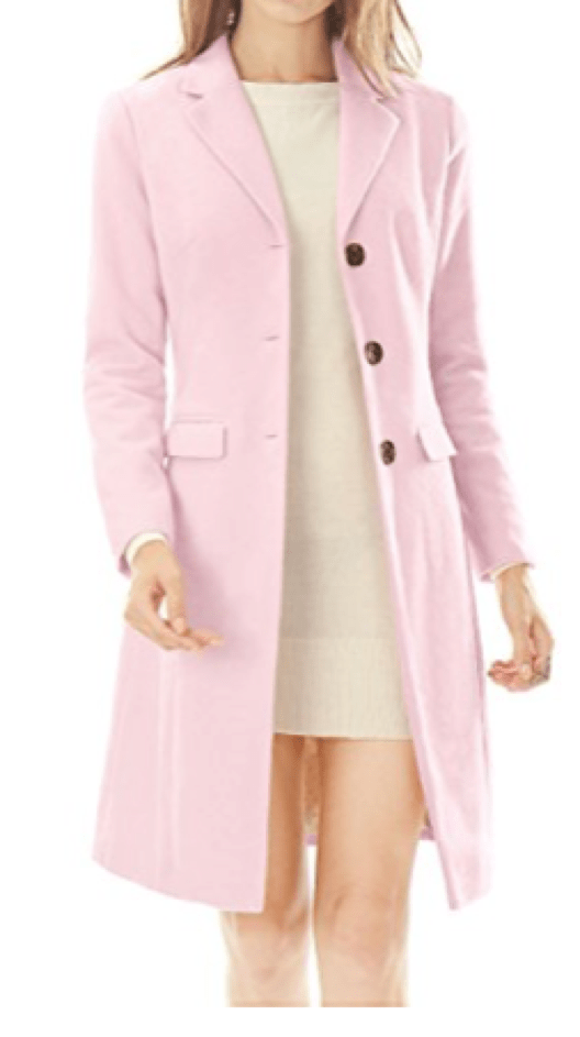 Button Front Long Pink Coat