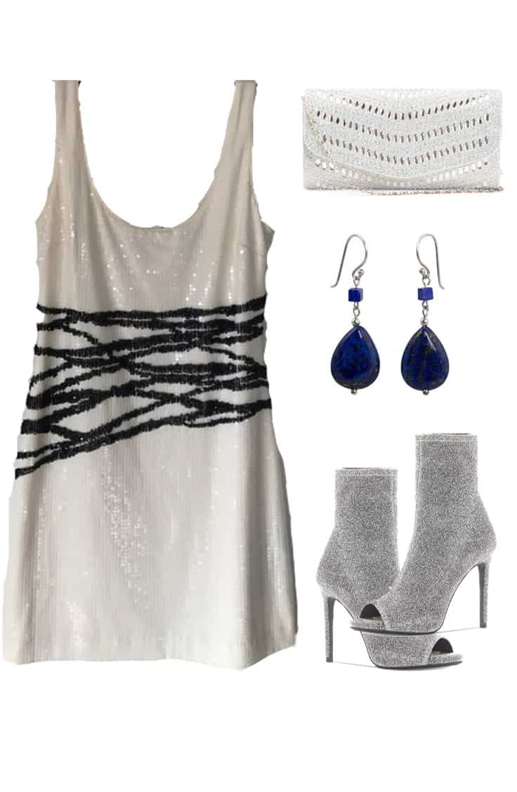 Sequined dress with silver booties, blue gem earrings and white textured clutch bag.