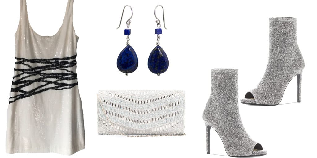 Black and white sequined dress with silver booties, blue gem earrings and white clutch