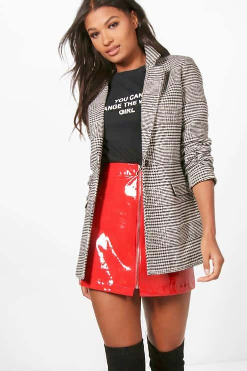 Check blazer with bright red mini skirt