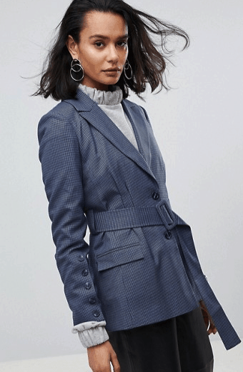 Blue Checked Blazer with Belt