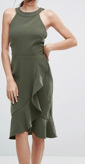 Green Ruffle Midi Dress from ASOS