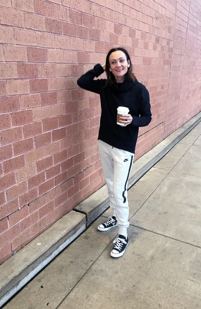 Nike joggers and roll-neck sweatshirt