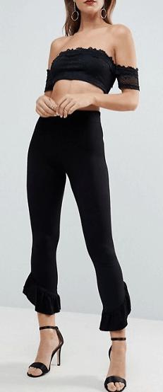 Black leggings with ruffle hem