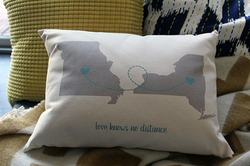 Long distance pillow from Etsy