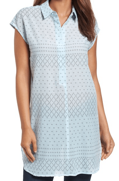 Blue patterned tunic by Vince Camuto