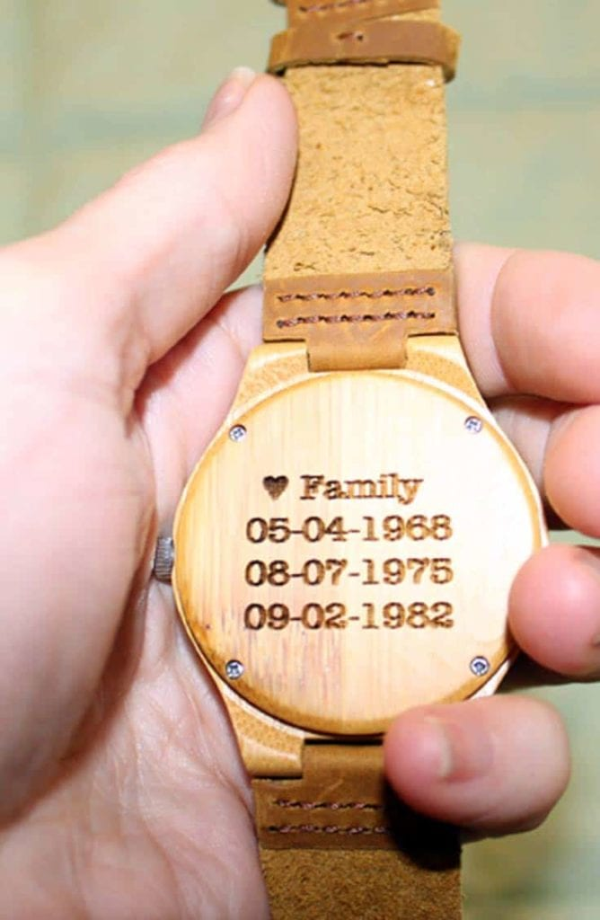 Wooden engraved watch
