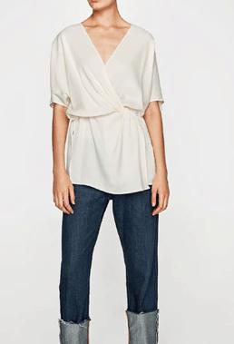 Wrap style blouse in ecru by Zara
