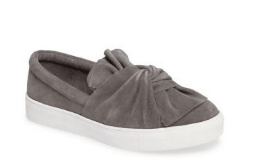 Gray tie top sneakers