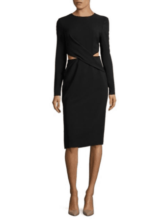 Long sleeved black dress with cutouts at waist