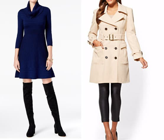 Blue flare sweater dress and beige trenchcoat