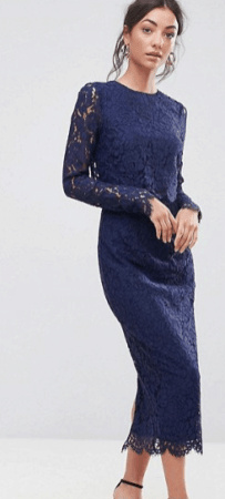Navy blue pencil dress with lace details