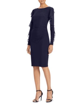 Lauren Ralph Lauren Georgette Jersey Sheath Dress in dark blue