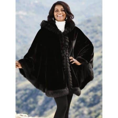 Faux fur hooded cape for winter style