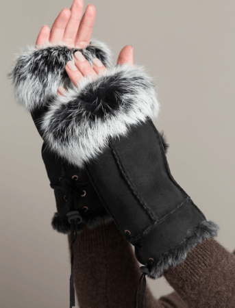 Fur Lined Fingerless Gloves