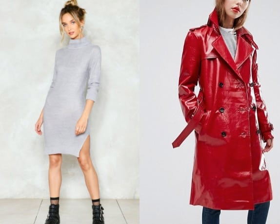 Grey Sweater Dress and Red Vinyl Trench Coat
