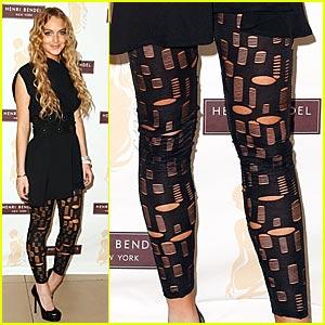 Lindsay Lohan wearing leggings