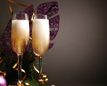 Champagne and glasses at New Years Eve Party