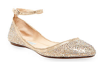 Gold sparkly flats for women