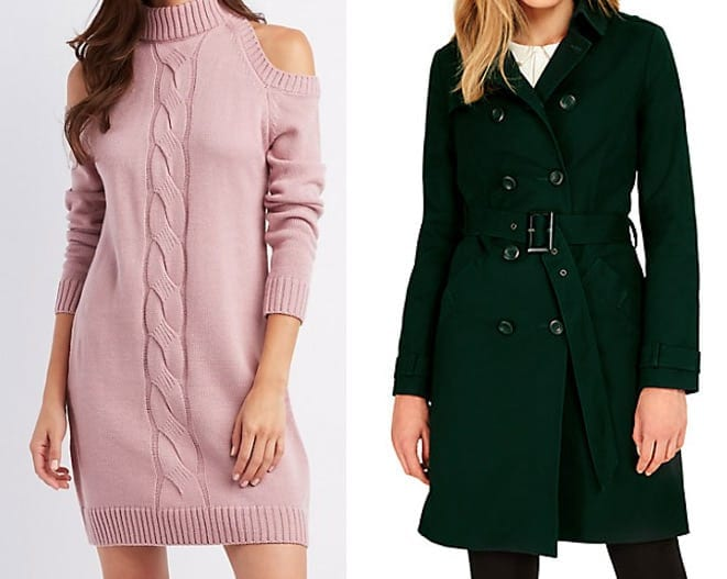 Soft pink sweater dress with forest green trench coat