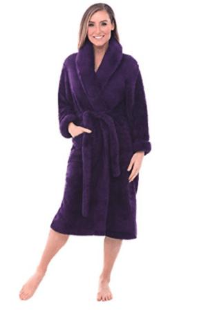 Purple microfiber robe