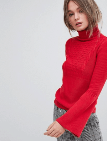 Red roll neck sweater with fluted sleeves