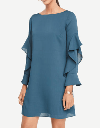 Teal shift dress with ruffle sleeves
