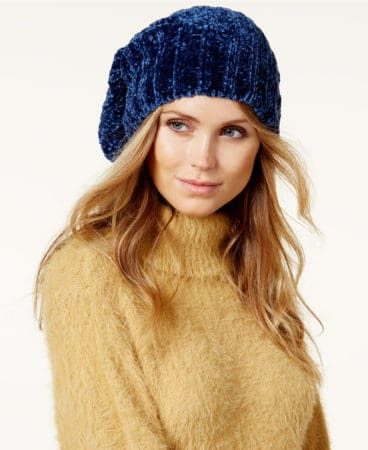 Dark Blue Chenille Slouchy Beanie for Winter Style