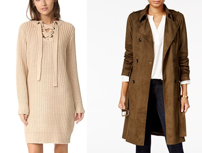 Beige sweater dress and dark brown suede look trench coat