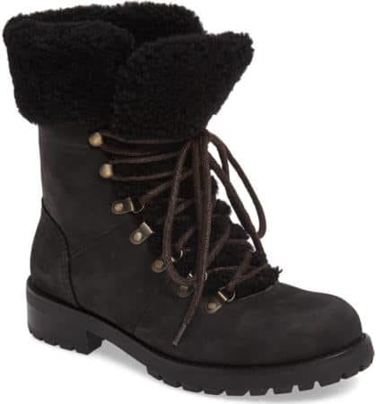 Shearling Lined, Waterproof, Black, Combat-Style Boots