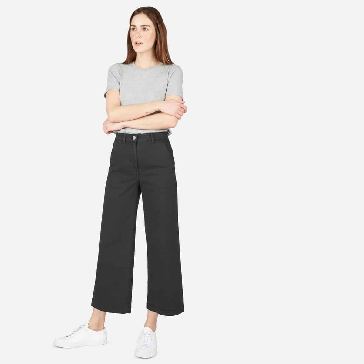 Grey, wide leg crop pants