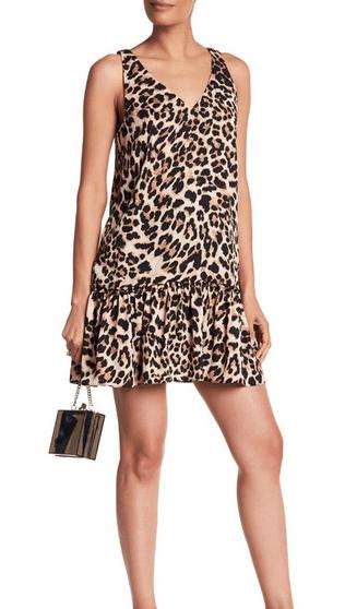 V neck, short leopard print dress