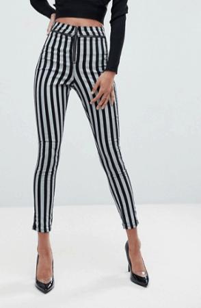 Skinny high waisted striped pants