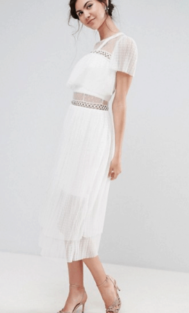 Ruffle midi dress with tulle accents