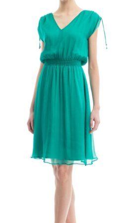 Green silk dress with elastic waist
