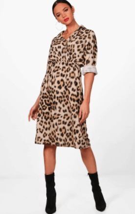 Satin wrap dress with leopard print