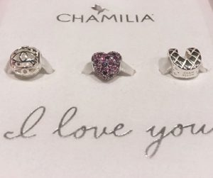 Set of three charms that spell out I love you