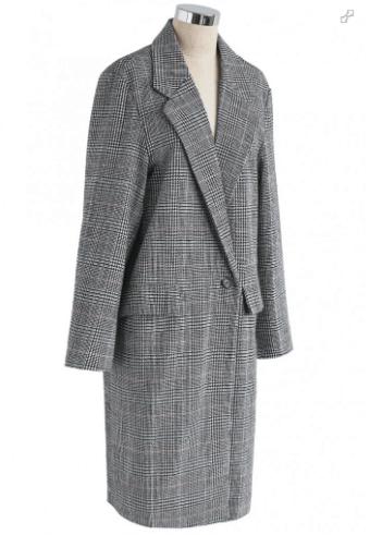 Check longline gray blazer