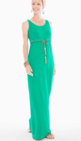 Bright green maxi dress with grommets at waist