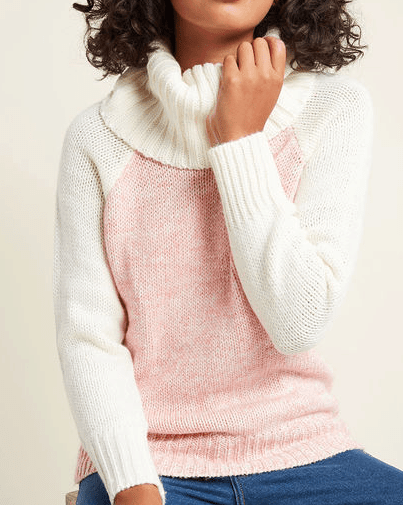 Pink and ivory cowl neck sweater
