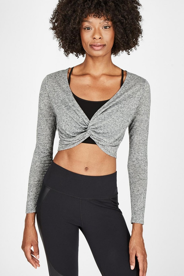 Gray, knotted front cropped workout top