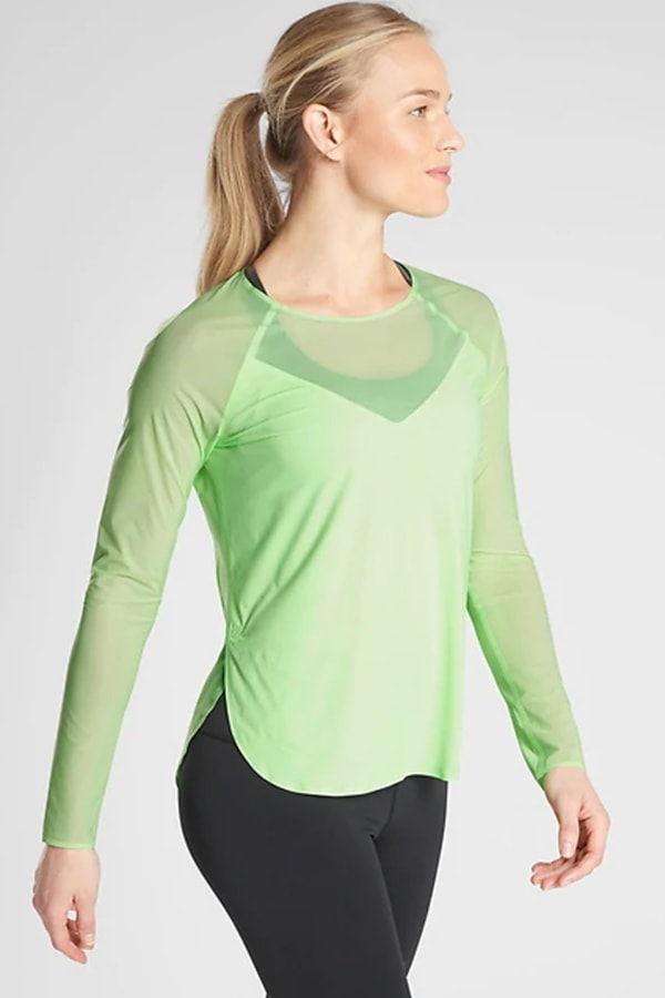 Green long-sleeved workout top