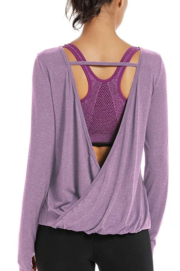 Lavender open-back workout top