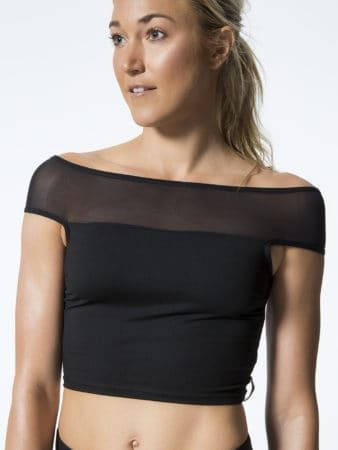 Black crop top gym wear